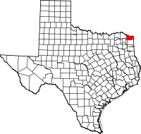 Small map of Bowie county