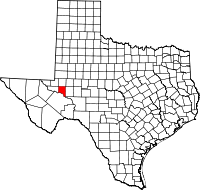 Small map of Crane county