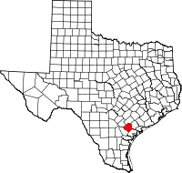Small map of Goliad county